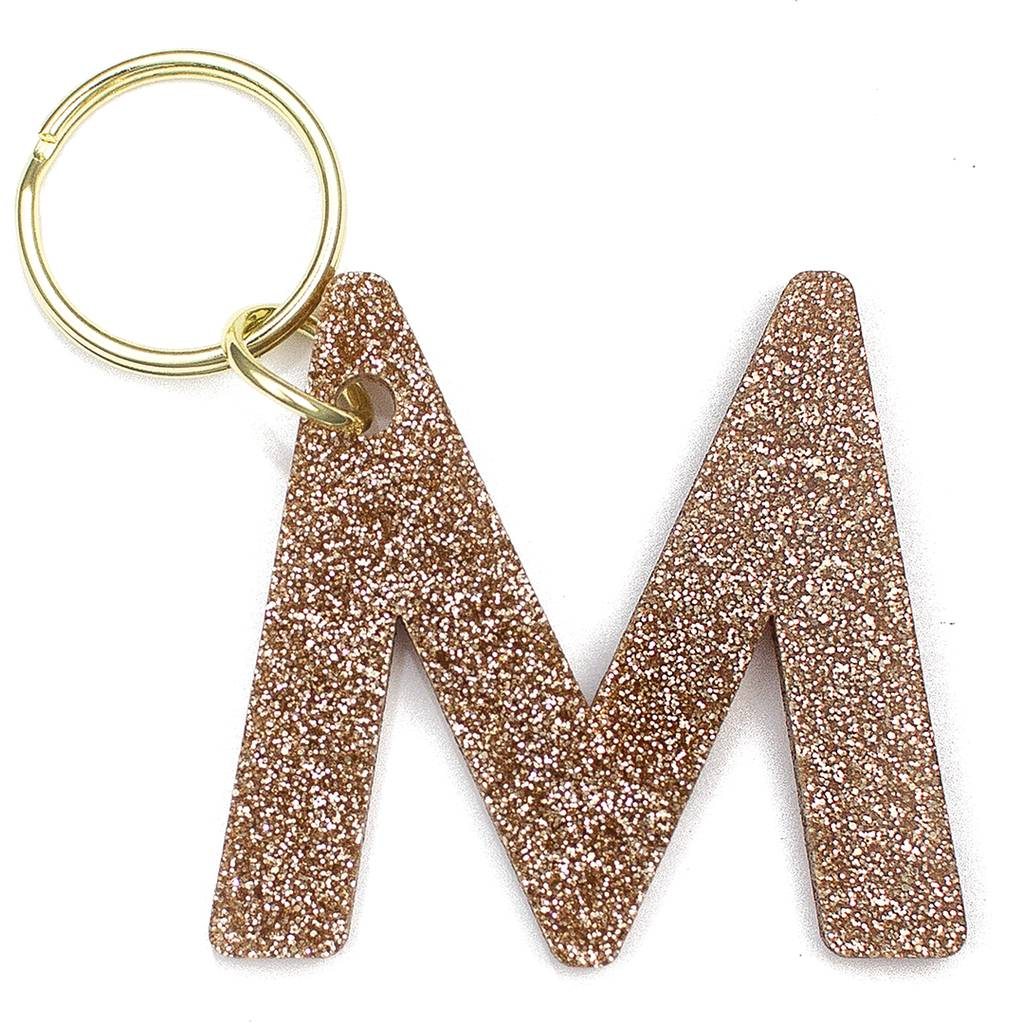 Glitter Initial Key Ring