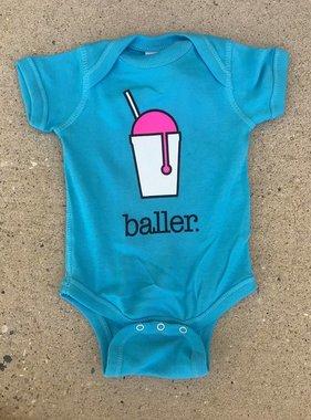 Baller Onesie in Aqua