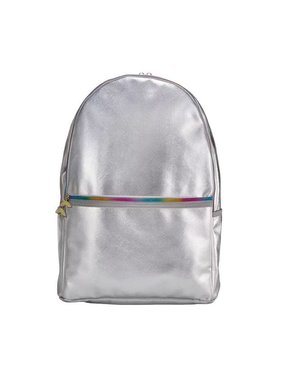 Silver Metallic Backpack with Rainbow Zipper