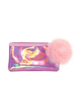 Pink Holographic Pom Pom Pencil Case