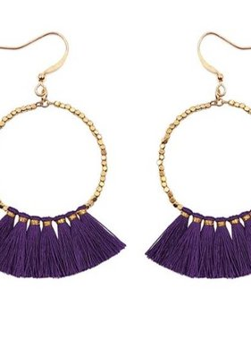 Hoop Earring with Purple Tassel