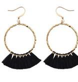 Hoop Earring with Black Tassel