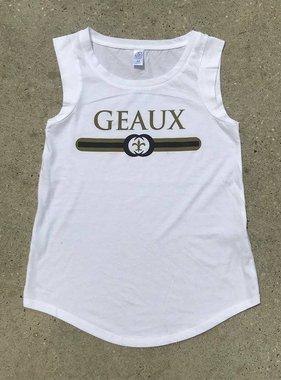 Black & Gold Geaux Tank on White