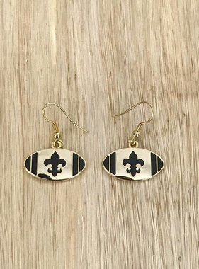Fleur de Lis Football Fish Hook Earring