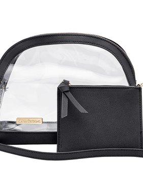 Bag, Clear, Half Moon Crossbody W/Black