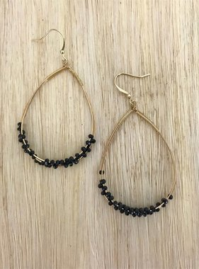Teardrop Black Crystal Earring