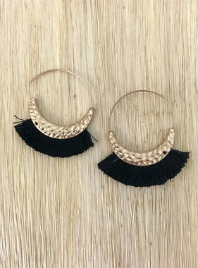 "Black Tassel 2"" Gold Earring"