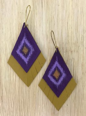 Purple & Gold Hand Painted Leather Earrings