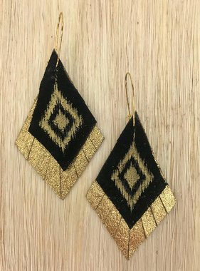 Black & Gold Hand Painted Leather Earrings
