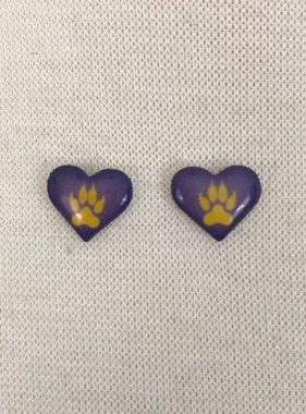Tiger Paw Heart Earrings
