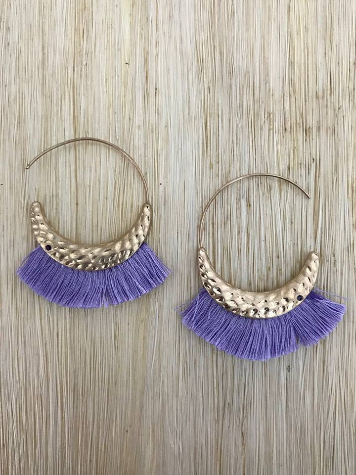 """Purple Tassel 1 1/2"""" Gold Earring"""