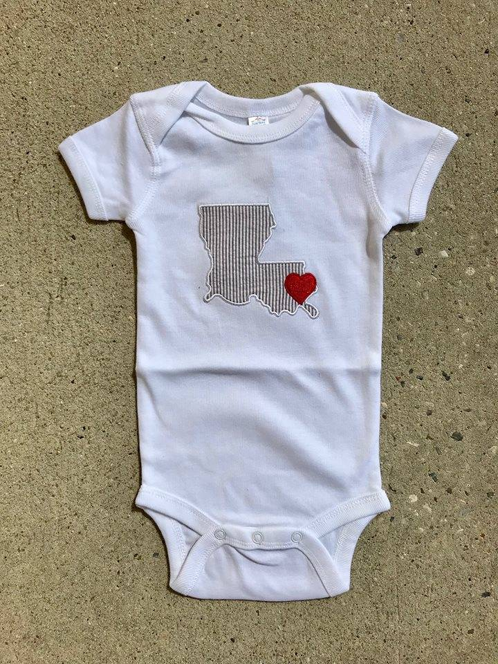 Nola Tawk Louisiana Love Onesie