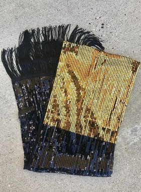 Black & Gold Sequin Scarf
