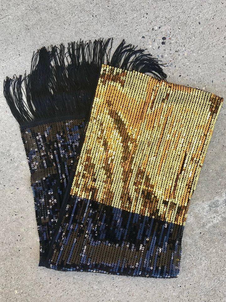 Black & Gold Sequin Scarf