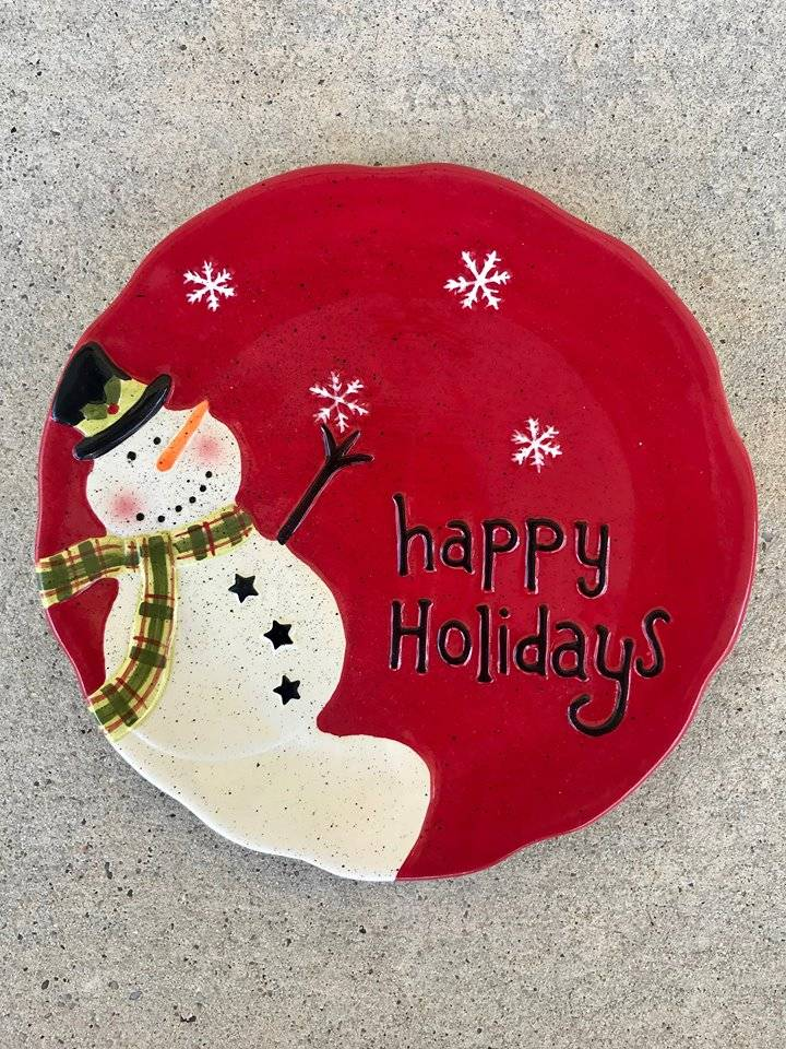 Happy Holidays Snowman Plate