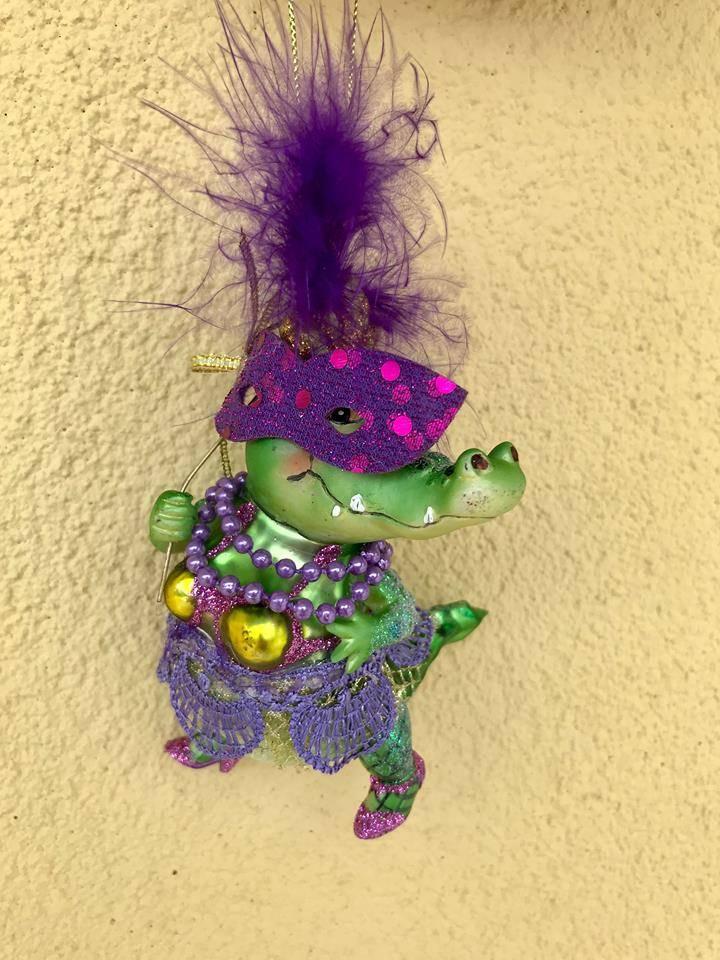 Mardi Gras Alligator Ornament