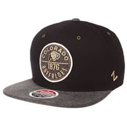 ZEPHYR COLORADO ADMIRAL FLAT BILL HAT- BLK/GRY