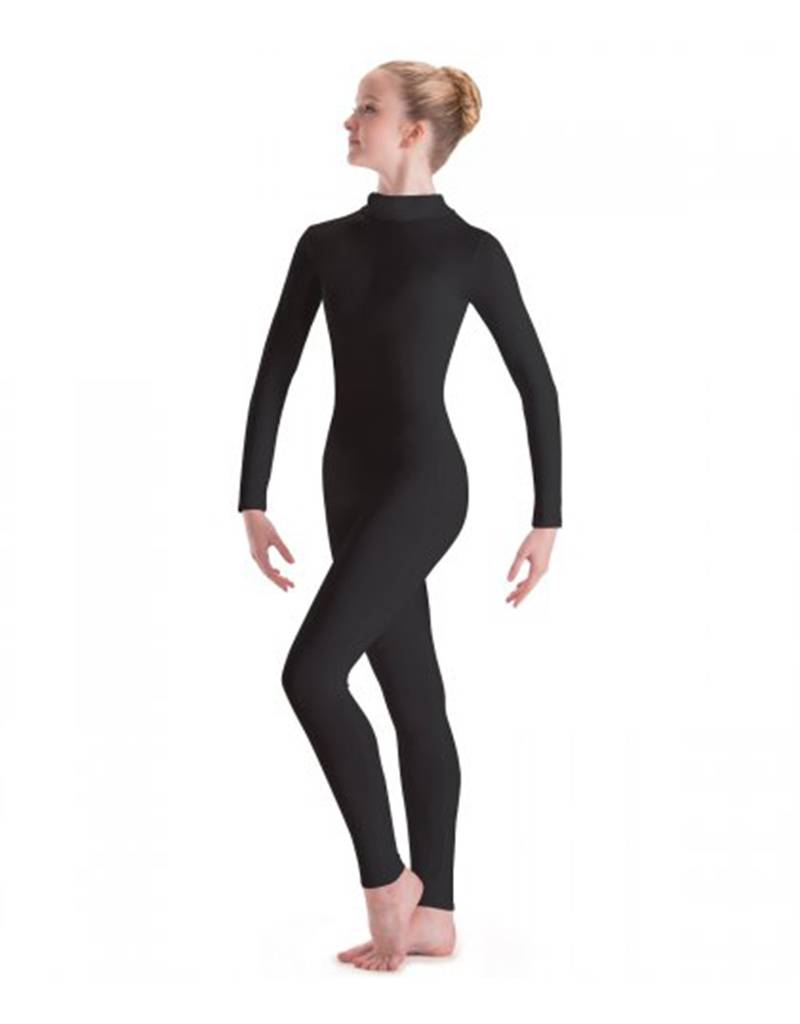 MW6662: MotionWear Long Sleeve Dance Unitard with Mock-T Zip Back