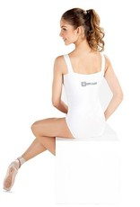 So Danca D401ME: So Danca Adult Wide Strap Tank Leotard with DADA Logo on Hip and Back
