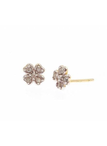 Lucky Cross Raw Diamond Studs