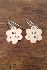"Copper ""Be Kind"" flower earrings"