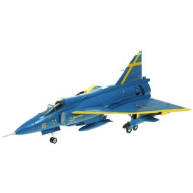 AV72 AV72 JA37 Viggen Swedish Air Force Blue Petter uppsala 1:72 with stand