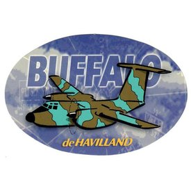 deHavilland Buffalo Dehavilland Oval Camouflage Cartoon Pudgy 2 7/8'' X 4 3/8'' Sticker