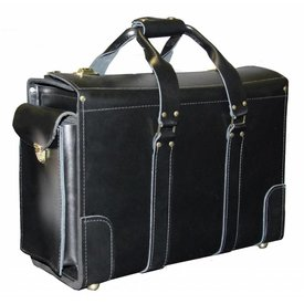avworld.ca Leather Flight Case Small Double Strap with End Pocket