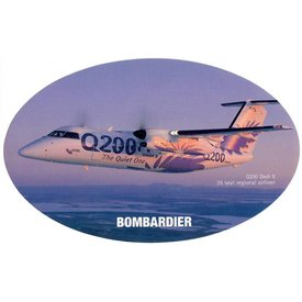 Bombardier Q200 Dash8 Bombardier House Colours Oval 3 3/4'' X 6'' Sticker