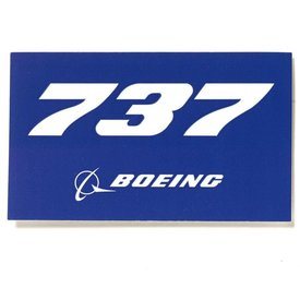 "Boeing Store 737 Blue Rectangle Sticker 3 3/4"" x 2 1/4"""