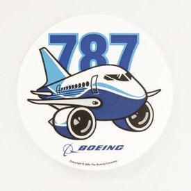 The Boeing Store 787 Pudgy Plane Sticker round 3""