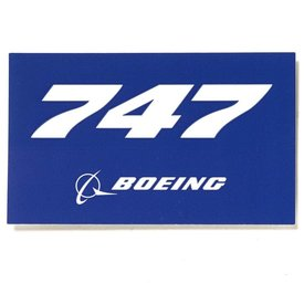 "The Boeing Store 747 Blue Rectangle Sticker 3 3/4"" x 2 1/4"""