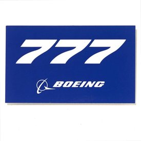 "The Boeing Store 777 Blue Rectangle Sticker 3 3/4"" x 2 1/4"""