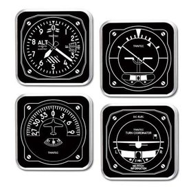 Trintec Industries Black & White 4-Piece Square Acrylic Coaster Set