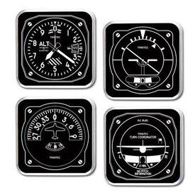Trintec Industries Black & White Instrument Coaster 4 piece Set