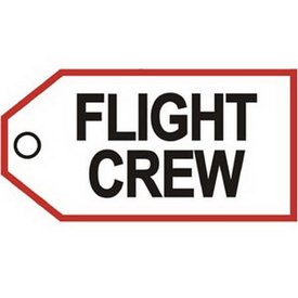 Luggage Tag Flight Crew Black Red On Whi