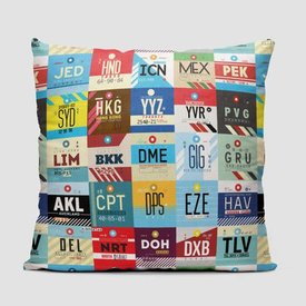 Airportag Worldwide Airports Throw Pillow
