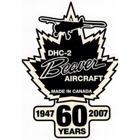 "Bombardier DHC2 Beaver Aircraft 60th Anniversary Sticker 3 1/2"" x 4 1/2 """