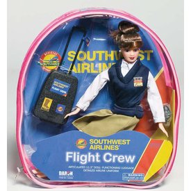 Daron WWT Doll Flight Attendant Southwest with luggage (in backpack)