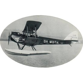 "deHavilland DH Moth Sticker Black & White Oval 6"" X 3 3/4''"