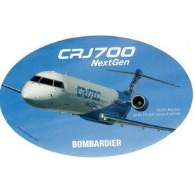 Bombardier CRJ700 Oval Blue 3 3/4'' X 6'' Sticker