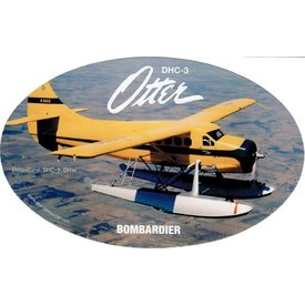 """Bombardier DHC3 Otter Oval Yellow Sticker 6"""" x 3 3/4"""""""