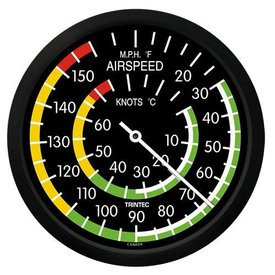 """Trintec Industries Classic 10"""" Airspeed Indicator Thermometer"""