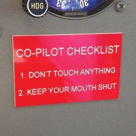 Sporty's Co-Pilot Checkliset Placards Humerous