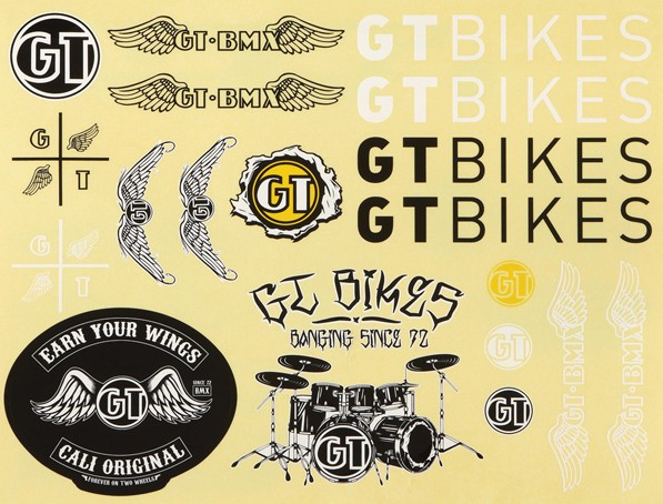 GT Bicycles GT Bmx Aftermarket Decal Sheet 2 pc