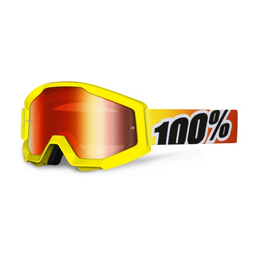 100% 100% Strata Mx Goggle Sunny Days Mirror Red Lens