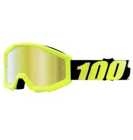 100% 100% Strata Jr Goggle Neon Yellow/Mirror Gold Lens