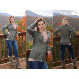 Elan Button Down Long Sleeve Olive Top