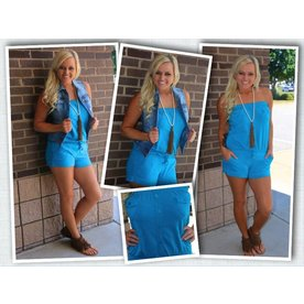 8e250ad2727 Strapless Romper Turquoise Strapless Romper Turquoise