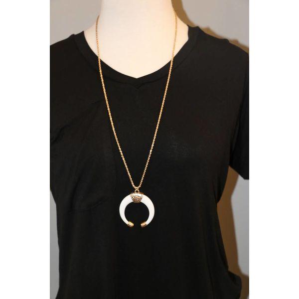 Greek Goddess Horn Pendant Necklace Noj Boutique